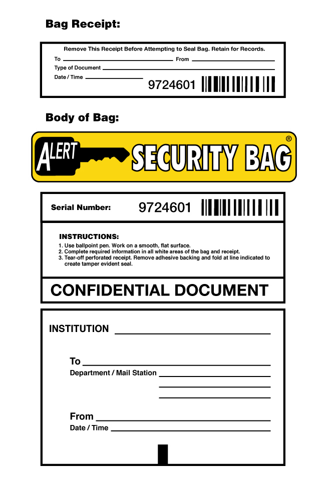 Alert Confidential Document Security Bag Info Block