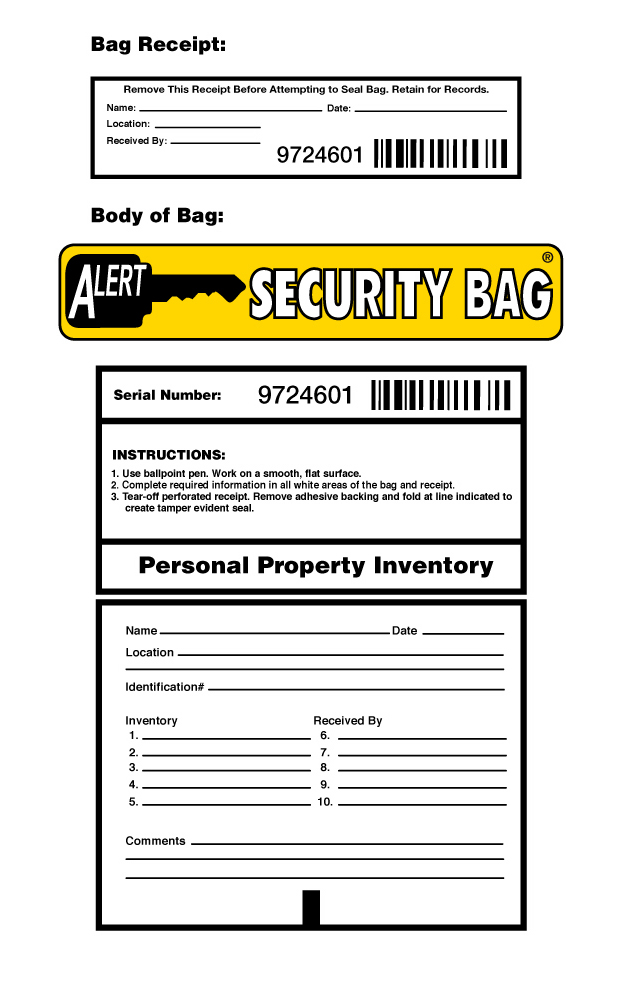 Alert Personal Property Bag Info Block