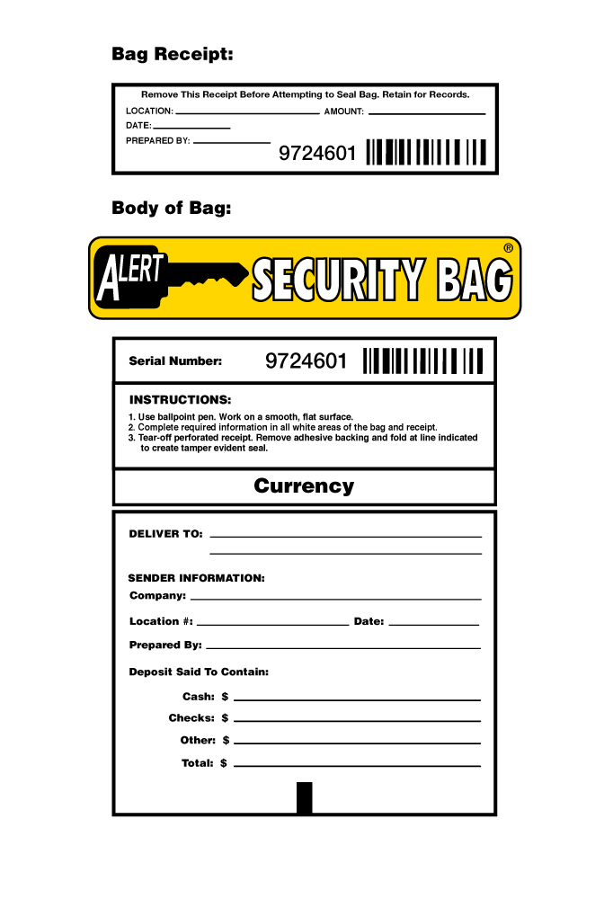 Alert Bank Deposit Bag Info Block