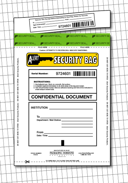 Alert Confidential Document Security Bag